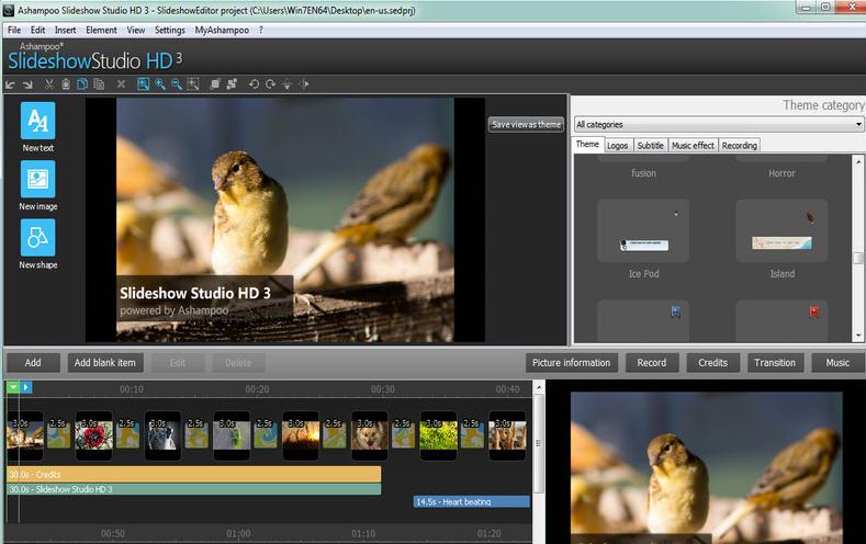 Ashampoo Slideshow Studio HD(动态视频相册制作) V3.0.9.1绿色中文版