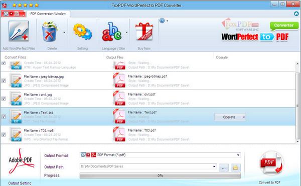 WordPerfect转换到PDF转换器 v3.0官方版