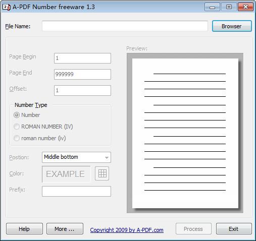 A-PDF Number(PDF页码添加工具) v1.3 官方版