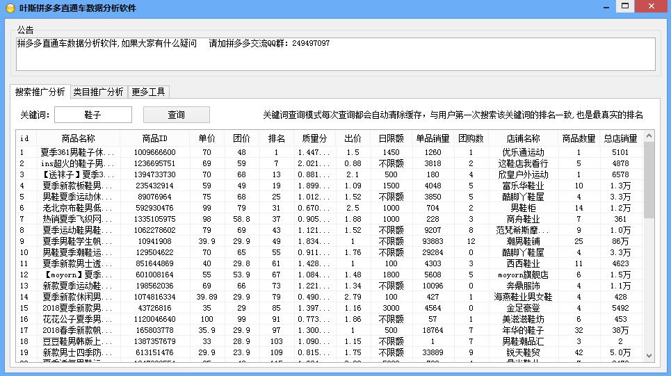 叶斯拼多多直通车数据分析软件 v2.0最新版