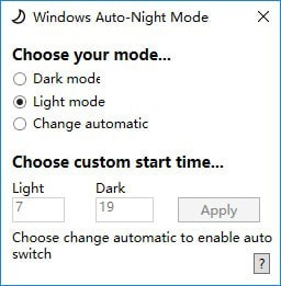Windows Auto Night Mode(色调模式调整软件)V1.0 电脑版_wishdown.com