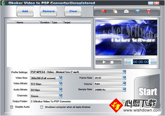 Okoker Video to PSP Converter_wishdown.com