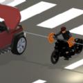 砍掉摩托车手的车